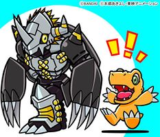 Black War Greymon and Agumon