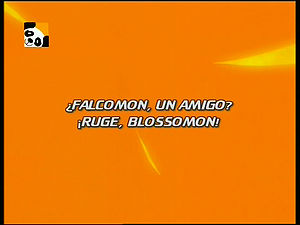 "Falcomon, um Amigo?! Ruge, Blossomon! (""Falcomon, a Friend?! Roar, Blossomon!"")"